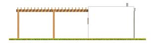 Projekt domu Budynek gospodarczy G41 (z wiatą) - elewacja prawa