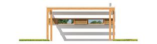 Projekt domu Budynek gospodarczy G41 (z wiatą) - elewacja frontowa