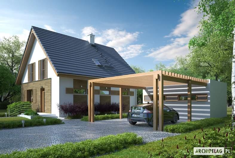 Projekt domu Budynek gospodarczy G41 (z wiatą) - Budynek gospodarczy G41 (z wiatą) - wizualizacja frontowa