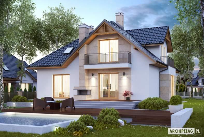 Projekt domu Samuel G1 - wizualizacja ogrodowa nocna