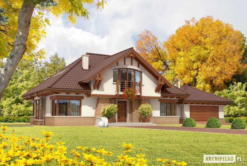 Projekt domu Edek G2 Mocca - wizualizacja frontowa
