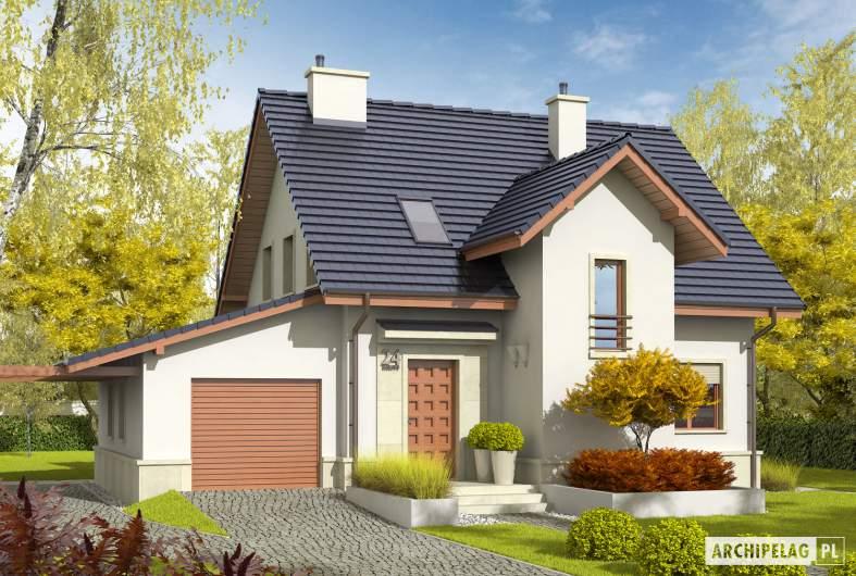Projekt domu Sebastian G1 - wizualizacja frontowa lewa