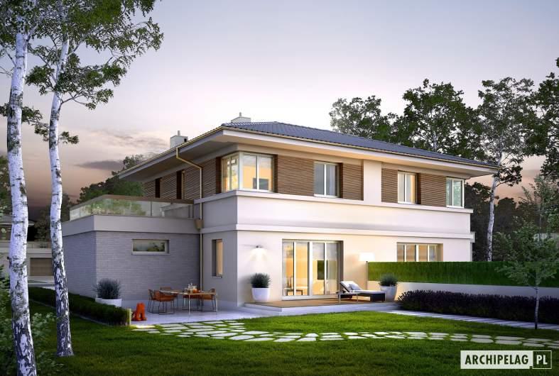 Projekt domu Fernando G1 (bliźniak) - wizualizacja ogrodowa nocna