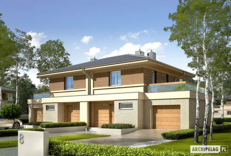 Projekt domu Fernando G1 (bliźniak) - wizualizacja frontowa