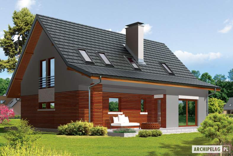 Projekt domu Demi G1 (wersja B) - wizualizacja ogrodowa