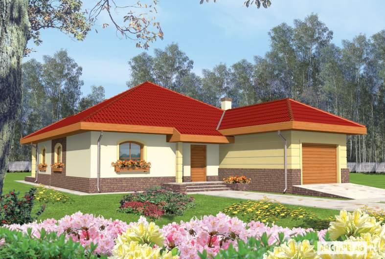 Projekt domu Cezaria G1 - wizualizacja ogrodowa