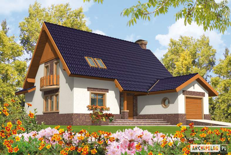 Projekt domu Nastka G1 (z piwnicą) - wizualizacja frontowa