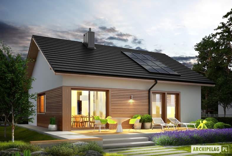 Projekt domu Elmo ECONOMIC - wizualizacja ogrodowa nocna