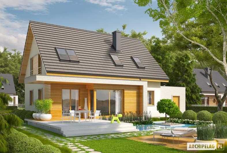 Projekt domu Nikodem G1 - wizualizacja ogrodowa