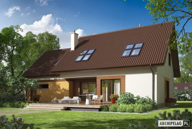 Projekt domu Marcin III G2 Mocca - Projekty domów ARCHIPELAG - Marcin III G2 Mocca - wizualizacja ogrodowa