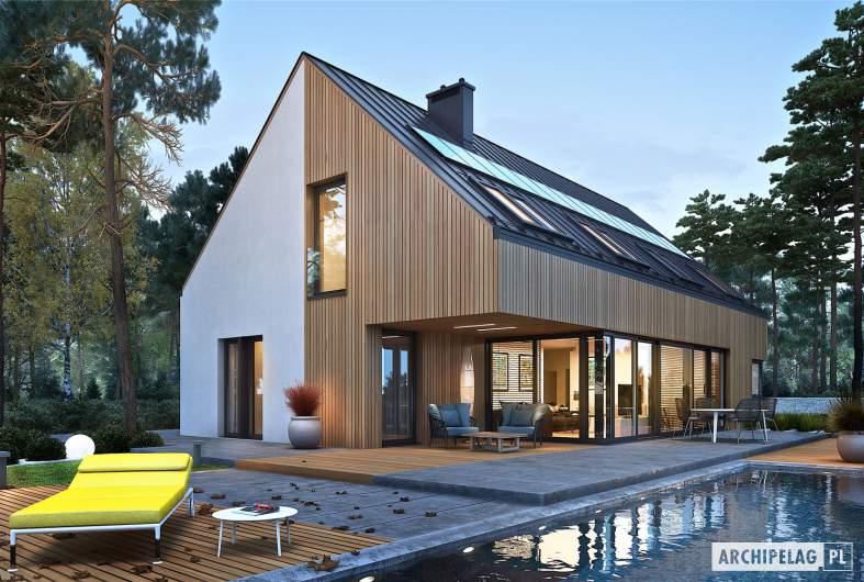 Projekt domu Daniel V G2 ENERGO PLUS - wizualizacja ogrodowa nocna