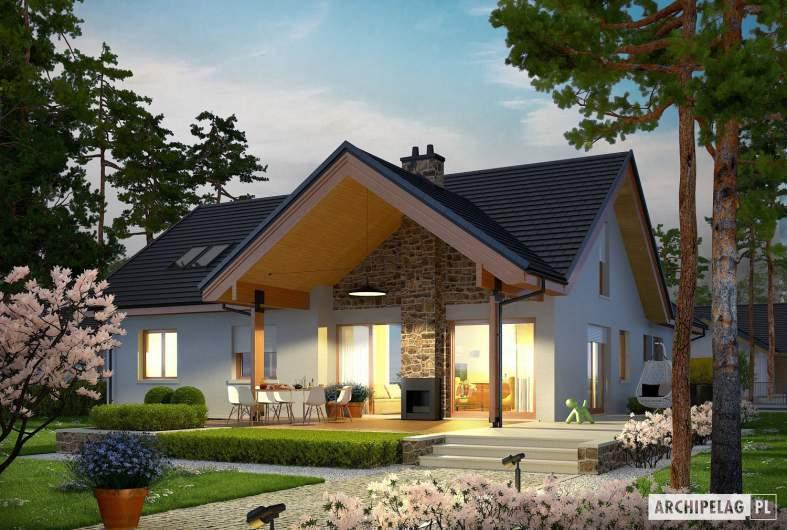 Projekt domu Simon (mały) G2 - wizualizacja ogrodowa nocna