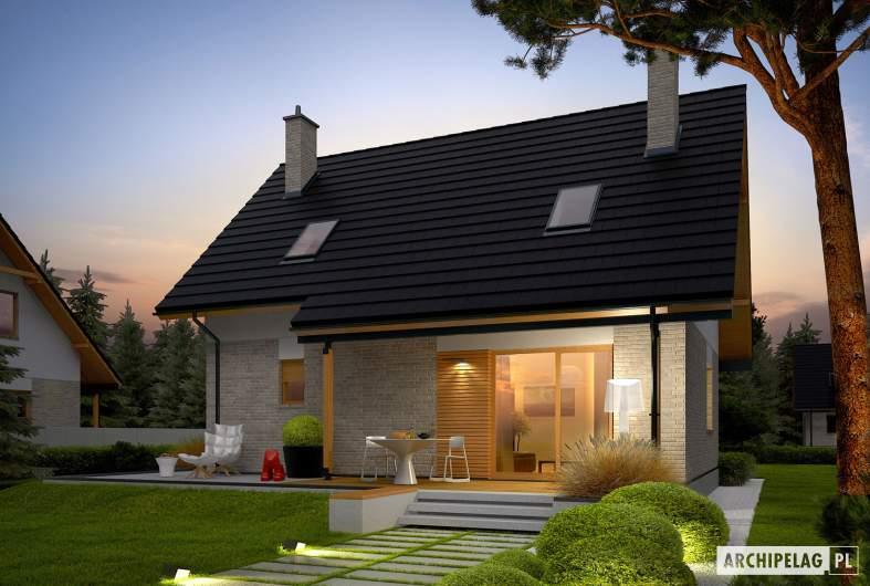 Projekt domu Oli - Projekty domów ARCHIPELAG - Oli - wizualizacja ogrodowa nocna
