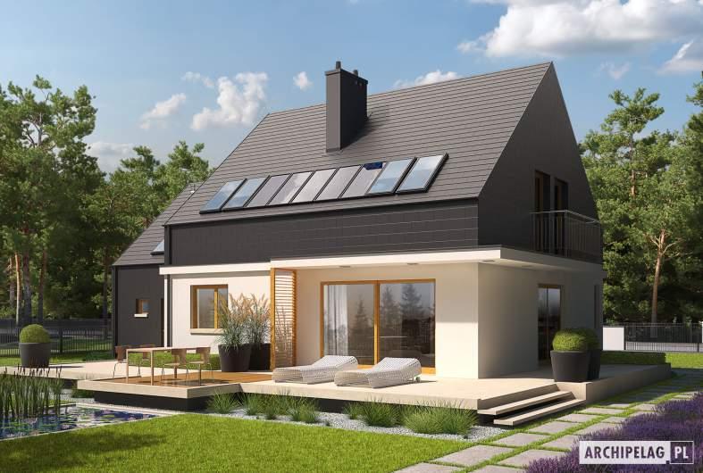 Projekt domu E5 G1 ECONOMIC (wersja B) - wizualizacja ogrodowa
