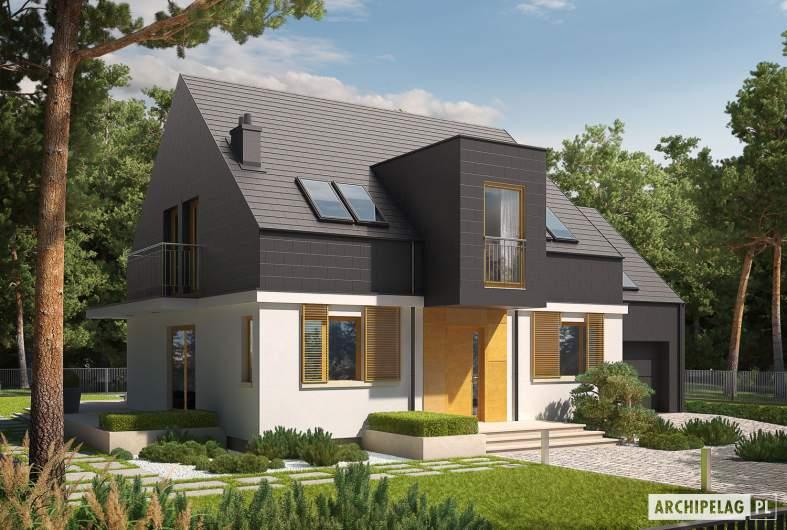 Projekt domu E5 G1 ECONOMIC (wersja B) - wizualizacja frontowa