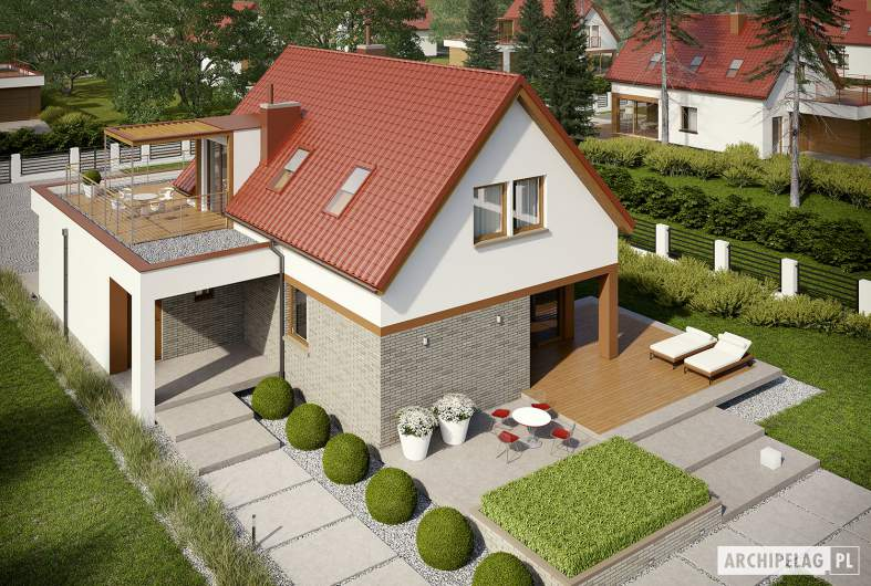 Projekt domu E13 II G1 ECONOMIC - widok z góry