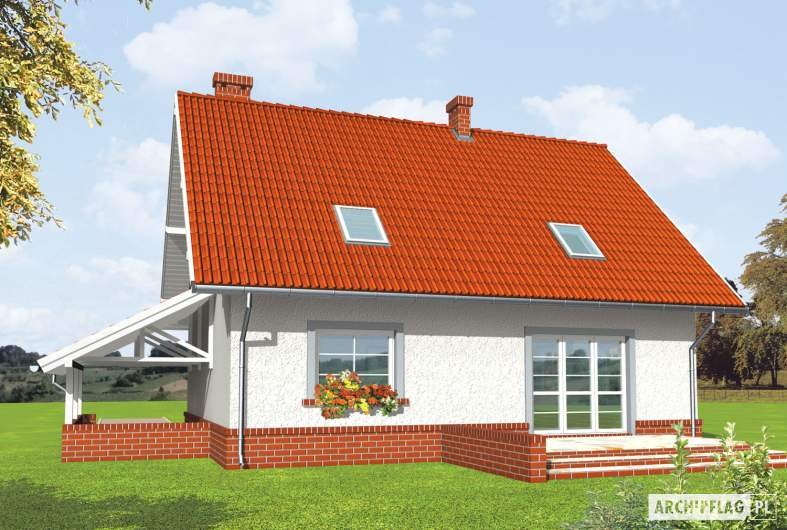 Projekt domu Honoratka (z wiatą) - wizualizacja ogrodowa