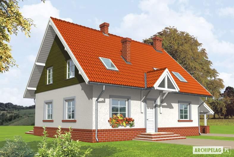 Projekt domu Honoratka (z wiatą) - wizualizacja frontowa