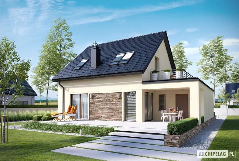 Projekt domu E14 III G1 ECONOMIC - Projekty domów ARCHIPELAG - E14 III G1 ECONOMIC - wizualizacja ogrodowa