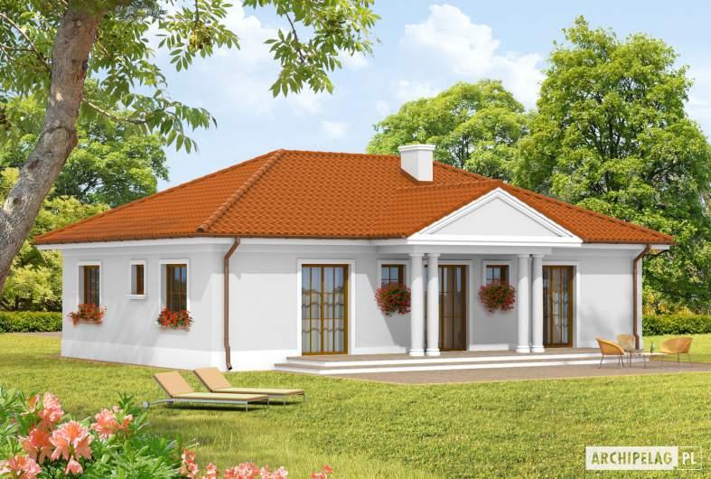 Projekt domu Jagódka - wizualizacja ogrodowa