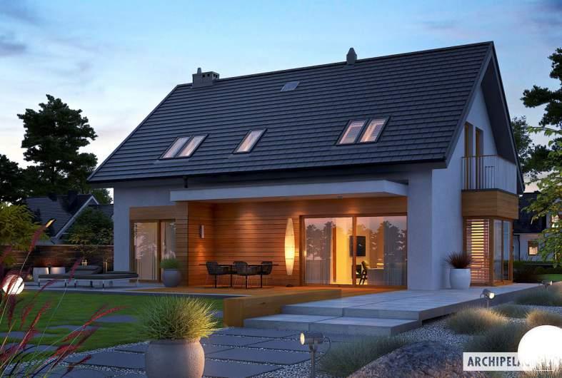 Projekt domu Nils G2 - wizualizacja ogrodowa nocna