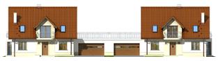 Projekt domu Kajka G2 (bliźniak) - elewacja frontowa