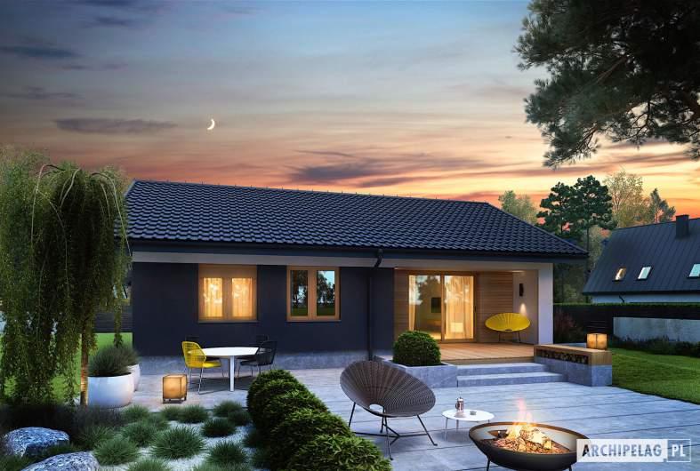 Projekt domu Mini 3 - wizualizacja ogrodowa nocna