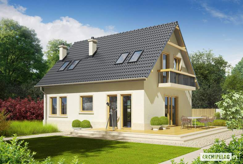 Projekt domu Oleńka - wizualizacja ogrodowa