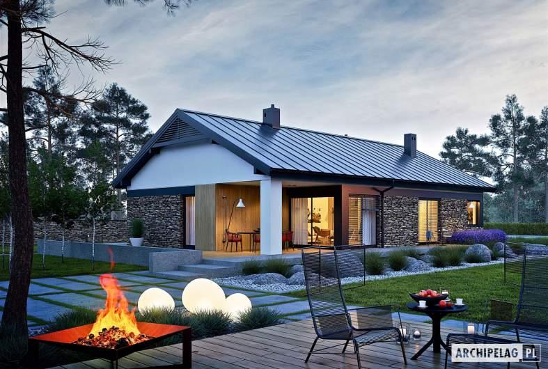 Projekt domu Daniel II G1 - wizualizacja ogrodowa nocna