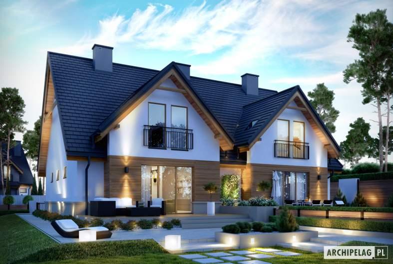 Projekt domu Sambor G1 (dwulokalowy) - wizualizacja ogrodowa nocna