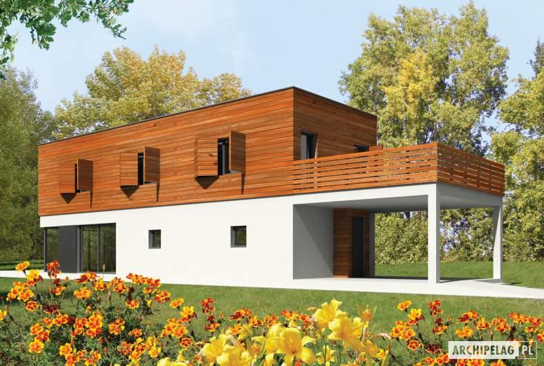 Projekt domu Horizon (z wiatą) - wizualizacja frontowa