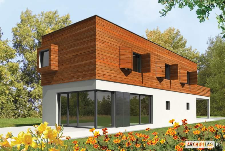 Projekt domu Horizon (z wiatą) - wizualizacja ogrodowa