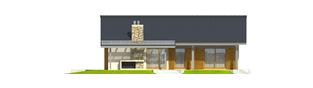 Projekt domu Selena II G1 (30 stopni) - elewacja tylna