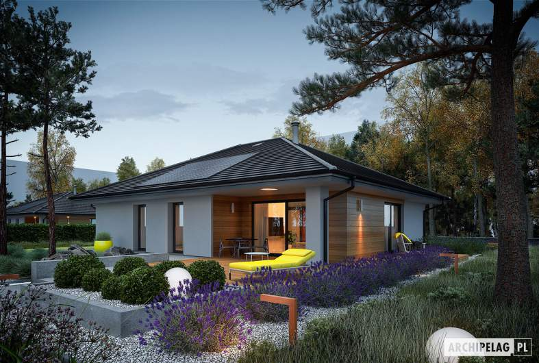 Projekt domu Mini 4 PLUS - wizualizacja ogrodowa nocna