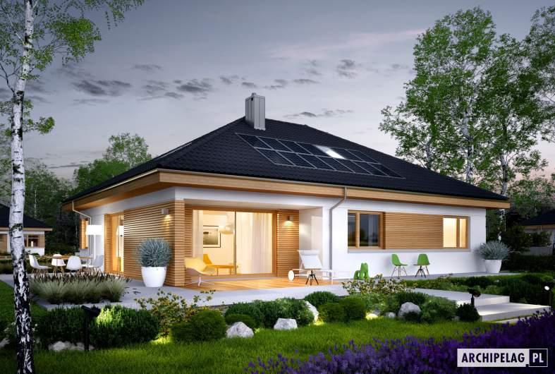 Projekt domu Astrid (mała) II G1 - wizualizacja ogrodowa nocna