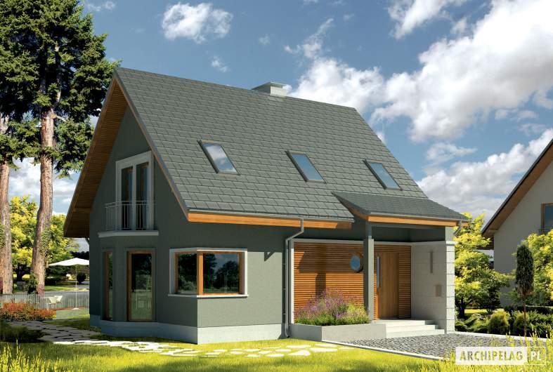 Projekt domu Kim (wersja A) - wizualizacja frontowa