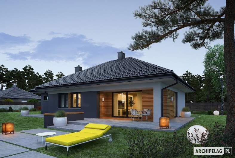 Projekt domu Mini 1 G1 - wizualizacja ogrodowa nocna