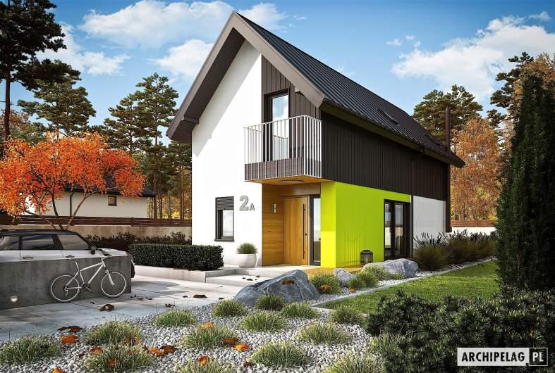 Projekt domu Moniczka II (wersja A) - wizualizacja frontowa
