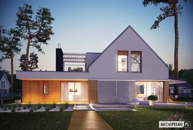 Projekt domu Neo G1 ENERGO  - wizualizacja ogrodowa nocna
