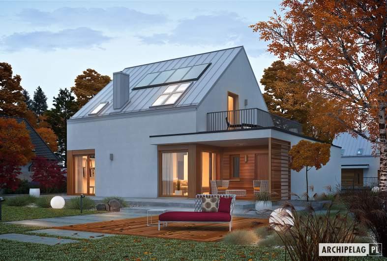 Projekt domu Mini 2 G1 PLUS - wizualizacja ogrodowa nocna