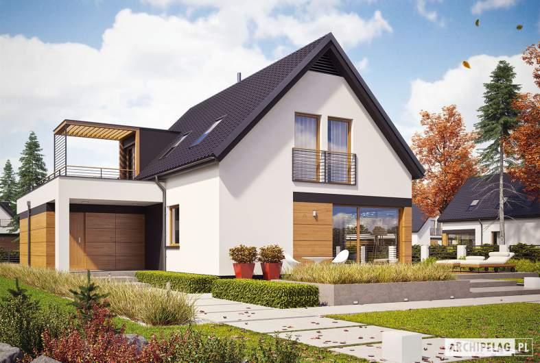 Projekt domu E13 G1 ENERGO PLUS - wizualizacja ogrodowa