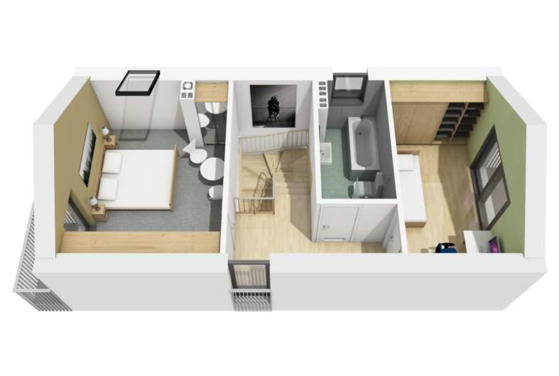 Projekt domu Moniczka - piętro 3D