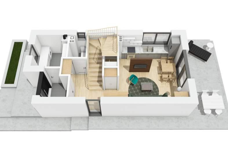Projekt domu Moniczka - parter 3D