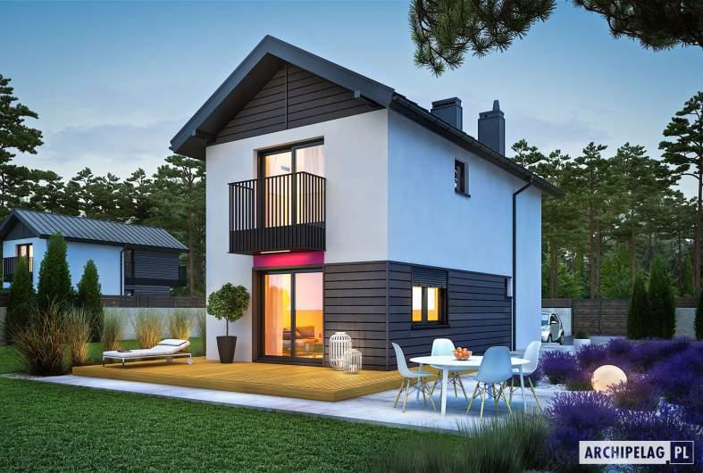 Projekt domu Moniczka - wizualizacja ogrodowa nocna