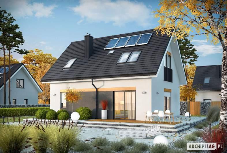 Projekt domu Witek II - Projekty domów ARCHIPELAG - Witek II - wizualizacja ogrodowa