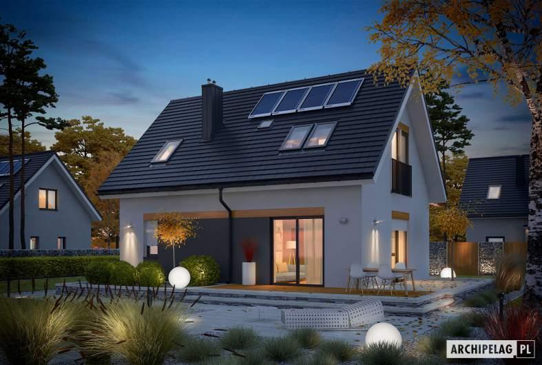 Projekt domu Witek II - Projekty domów ARCHIPELAG - Witek II - wizualizacja ogrodowa nocna