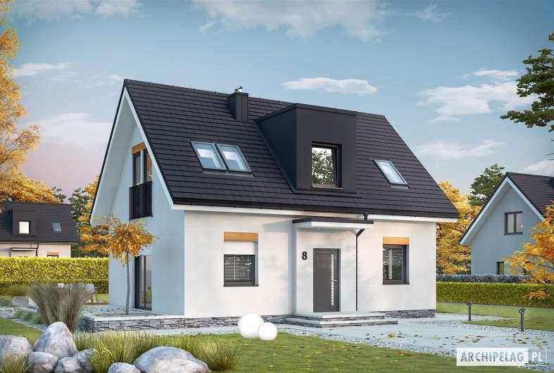 Projekt domu Witek II - Projekty domów ARCHIPELAG - Witek II - wizualizacja frontowa