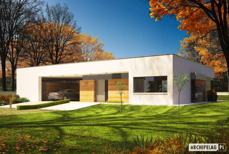 Projekt domu EX 7 (z wiatą) MULTI-COMFORT - wizualizacja frontowa