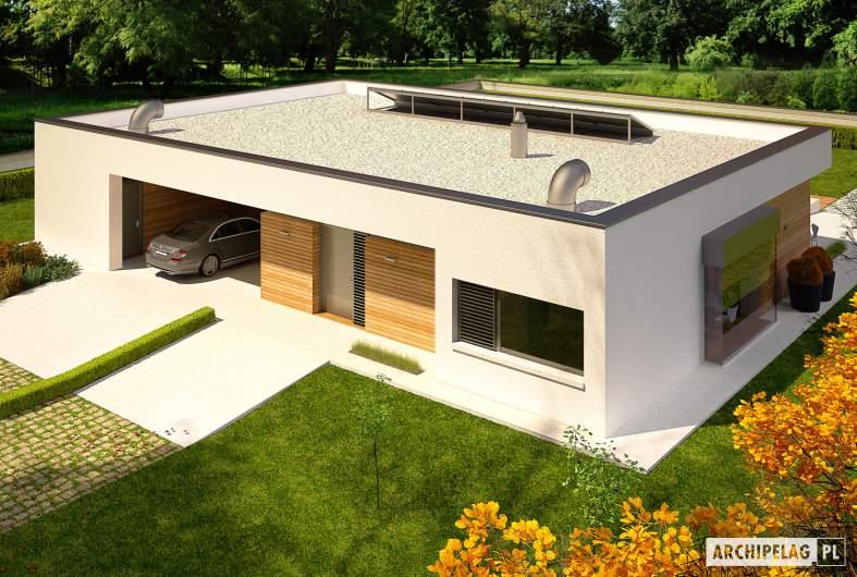 Projekt domu EX 7 (z wiatą) MULTI-COMFORT - wizualizacja frontowa widok z góry