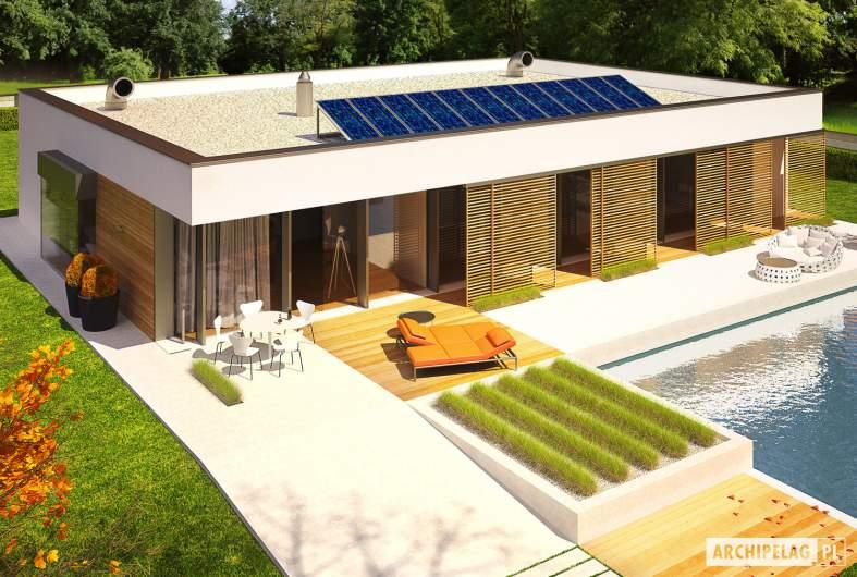 Projekt domu EX 7 (z wiatą) MULTI-COMFORT - wizualizacja ogrodowa widok z góry
